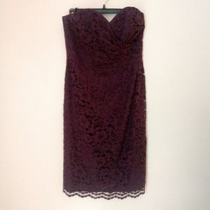 David's Bridal Burgundy Lace Sweetheart Dress 4
